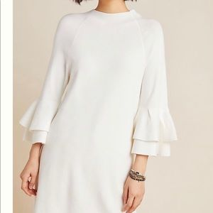 Anthropologie White Ruffled Sweater Dress NWT